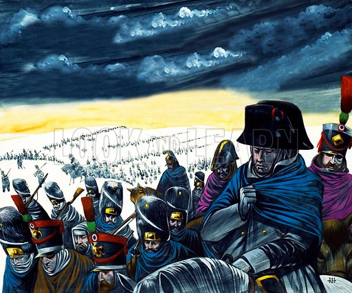 Napoleon on the retreat from Moscow.