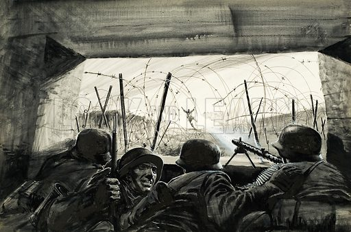 The Bunker.  A savage engangement during World War II as Allied soldiers attack a heavily defended bunker in June 1944 during the D Day landings.  Original artwork for Look and Learn (issue yet to be identified).  Lent for scanning by The Gallery of Illustration.
