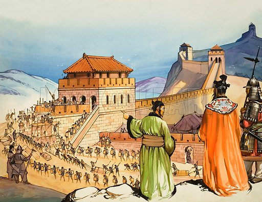 Building the Great Wall of China. Original artwork for illustration on pp4–5 of Look and Learn issue no 284 (24 June 1967).