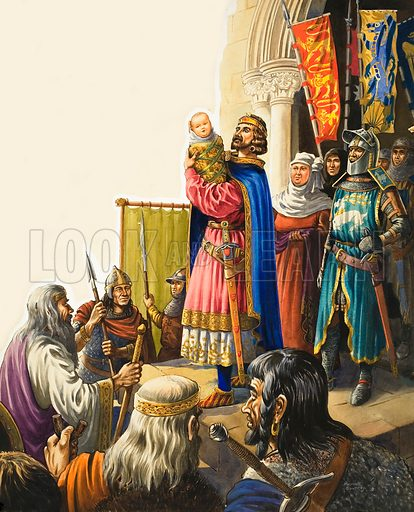 King Edward presents his baby son to the Welsh chieftains as the first Prince of Wales. Original artwork for illustration on p17 of Treasure no 50.