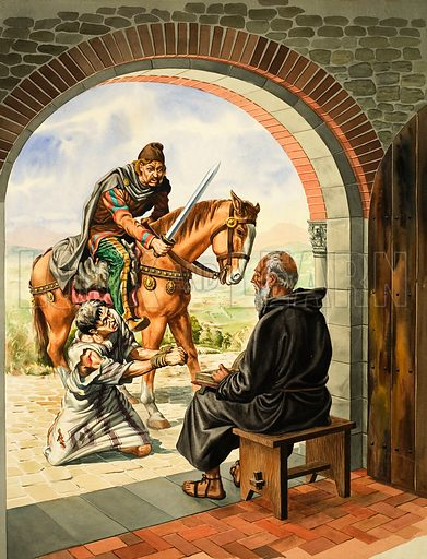Saint Benedict. Urged on by the brutal Goth, the unhappy peasant fell at Saint Benedict's feet. Original artwork for illustration on p22 of The Bible Story issue no 3.
