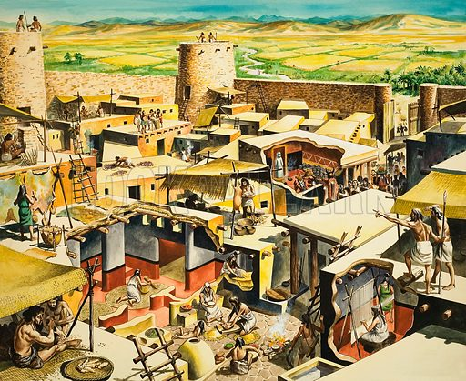 City of Jericho in ancient times. Original artwork for illustration on pp12–13 of The Bible Stroy issue no 21.