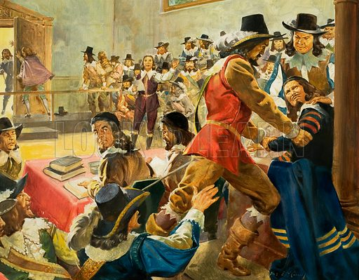 Scene in Parliament prior to the Civil War (?).  Original artwork for illustration in Look and Learn (issue yet to be identified).  Lent for scanning by The Gallery of Illustration.