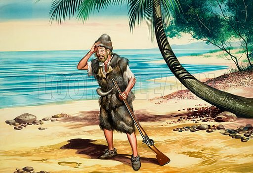 Robinson Crusoe, castaway of the novel by Daniel Defoe. Original artwork for Look and Learn (issue yet to be identified).