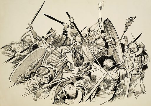 Gauls vs Romans. Two German tribes invaded southern Gaul and broke Rome's hold on this important possession by annihilating two Roman armies at once. Original artwork for illustration on pp2–3 of Look and Learn issue no 620 (1 December 1973).