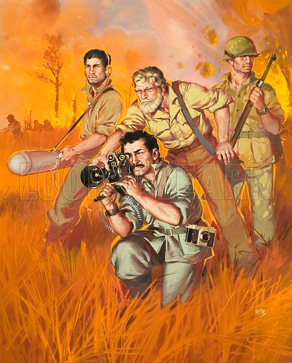 War Correspondents. Original artwork for illustration on p5 of Look and Learn issue no 400 (13 September 1969).