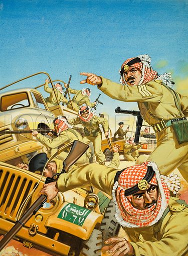 King Hussein of Jordan. As the ruler of a country in the front line of conflict in the Middle East, King Hussein of Jordan is no stranger to danger. Original artwork for illustration on p18 of Look and Learn issue no 1047 (3 April 1982).