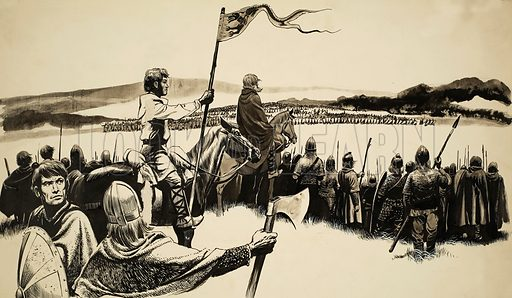 Norman Invasion. Illustration for story in which a fifteen year old Anglo Saxon boy rode north to York where Harold King of England was encamped. Original artwork for illustration on p14 of Look and Learn issue no 240 (20 August 1966).