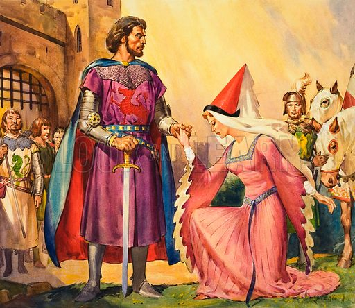 King Arthur and Guinevere.  Original artwork for cover of Look and Learn issue no 286 (8 July 1967).  Lent for scanning by The Gallery of Illustration.