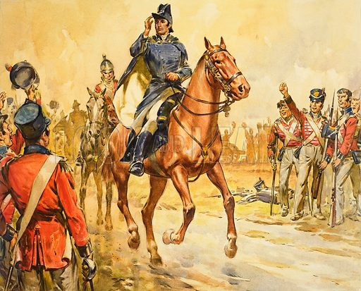 Duke of Wellington Rallying his Troops. Original artwork for Look and Learn (issue yet to be identified).