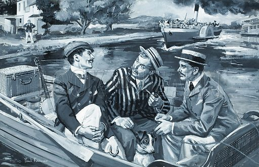 Three Men in a Boat.  Who said: I like work, it fascinates me - I can sit and look at it for hours.  Anser: J, in Three Men in a Boat by Jerome K Jerome.  Original artwork for illustration on p29 of Look and Learn issue no 288 (22 July 1967).  Lent for scanning by The Gallery of Illustration.