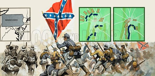 Battle of Gettysburg.  General Pickett leads the heroic charge by the Southerners on Cemetery Ridge during the Battle of Gettysburg, the greatest battle fought on American soil.  Original artwork for illustration on p26-27 of Look and Learn issue no 406 (25 October 1969).  Lent for scanning by The Gallery of Illustration.