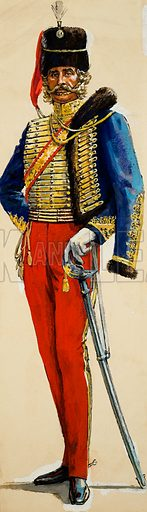 Hussar. Original artwork for Look and Learn (issue yet to be identied).
