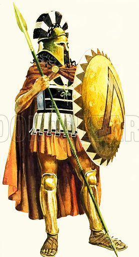 Spartan hoplite, soldier of ancient Greece. His head, chest and legs are protected by armour, and his principal weapon is a spear. The device on the shield, a Greek capital L, stands for Lacadaemon, another name for Sparta.