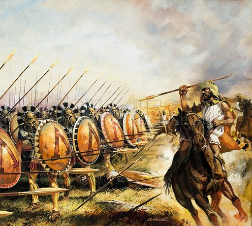 Thessalian cavalry unsuccessfully attacking a phalanx of Spartan hoplites, ancient Greece. The disciplined and well-trained Spartan infantry were more than a match for Hippias' lightly armed Thessalian cavalry.