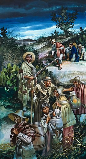 Jose Maria Morelos.  Morelos had held Cuautia for 62 grim days and nights against the Spaniards, but he was finally forced to evacuate the survivors.  Quietly, he led them through the sleeping enemy lines.  Original artwork for illustration on p24 of Look and Learn issue no 521 (8 January 1972).  Lent for scanning by The Gallery of Illustration.