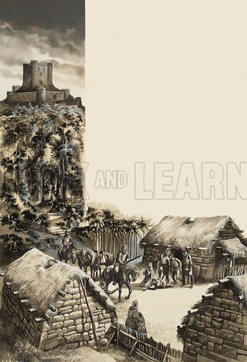Medieval Village. Original artwork for Look and Learn issue no 540 (20 May 1972).