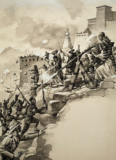 Final Assault on Tibet.  Original artwork for illustration in Look and Learn issue no 166 (20 March 1965).  Lent for scanning by The Gallery of Illustration.