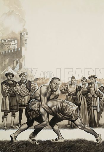 Francis I of France vs Henry VIII of England.  Victory fell to Francis the First in a friendly wrestling bout with Henry the Eighth - one of the few battles this vain king fought on behalf of France which did not end in bitter and dismal failure.  Original artwork for illustration on p4 of Look and Learn issue no 534 (8 April 1972).