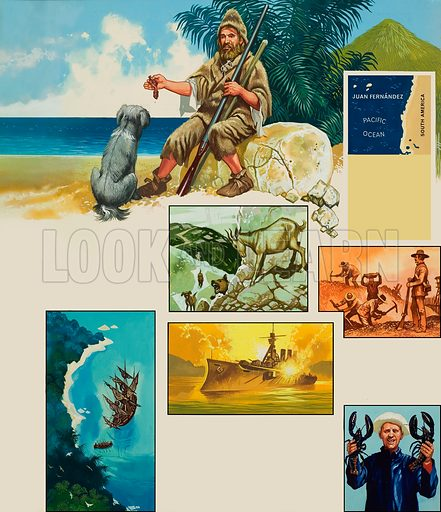 Crusoe's Kingdom. Illustrations concerning the Juan Fernadez islands, famed for various reasons, including being the home of Alexander Selkirk, the model for Robinson Crusoe. Original artwork for illustration on p40 of Look and Learn issue no 383 (17 May 1969). Lent for scanning by The Gallery of Illustration.