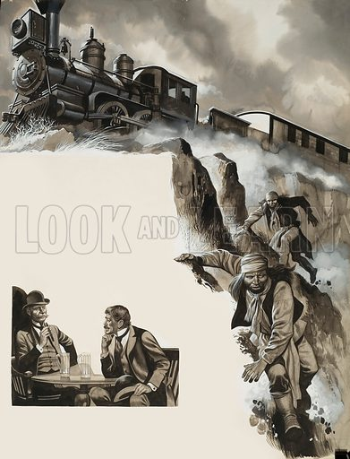 Train and Bandits. Original artwork for illustration in Look and Learn (issue yet to be identified). Lent of scanning by The Gallery of Illustration.