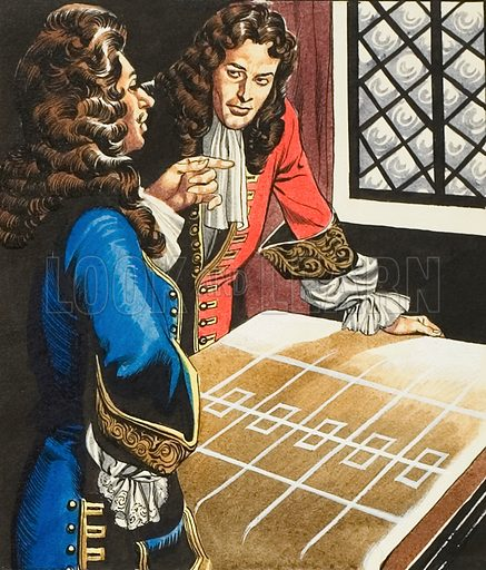 """Great Fire of London.  John Evelyn was one of several who, within a few days of the fire, produced a """"plot ofor a new City, with a discourse on it ...""""  Our picture shows him explaining his plot to Charles II.  Original artwork for illustration on p33 of Look and Learn issue no 245 (24 September 1966).  Lent for scanning by The Gallery of Illustration."""