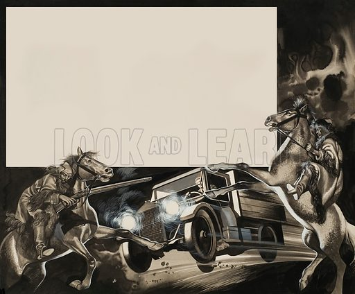 Horsemen and Truck.  Original artwork for Look and Learn (issue yet to be identified).  Lent for scanning by The Gallery of Illustration.