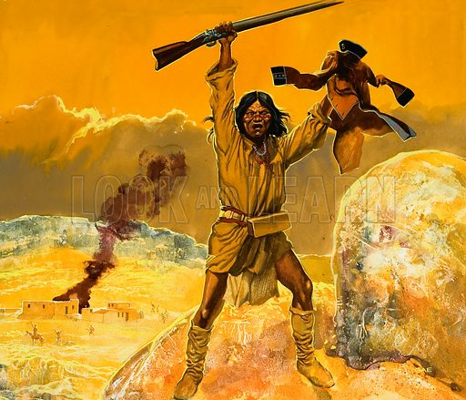 Mexican Indians. We think of Americans fighting Apaches and other Indians in their South West, but the Mexican Indian wars were even more savage. Original artwork for illustration on p25 of Look and Learn issue no 525 (5 February 1972).