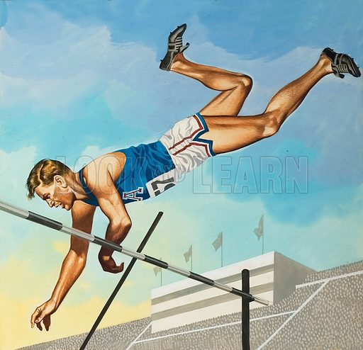 Pole Vaulting.  Original artwork for illustration on p25 of Look and Learn issue no 550 (29 July 1972).  Lent for scanning by The Gallery of Illustration.