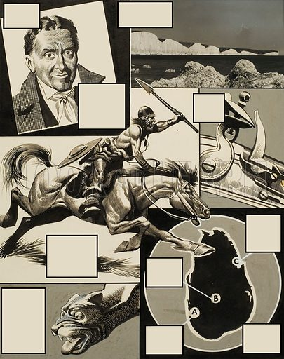 Design for Quiz Page.  Original artwork for illustration on p19 of Look and Learn issue no 14 (21 April 1962).  Lent for scanning by The Gallery of Illustration.