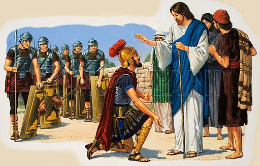 Christ Blessing a Roman Soldier.  Original artwork for Treasure, Look and Learn or The Bible Story (issue yet to be identified).  Lent for scanning by The Gallery of Illustration.