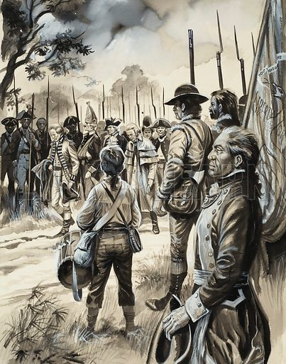 American War of Independence. The surrender of the British forces under General Burgoyne at Saratoga was one of the turning points of the war. Original artwork for illustration on p31 of Look and Learn issue no 81 (3 August 1963). Lent for scanning by The Gallery of Illustration.