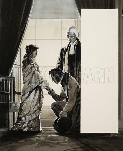 "How the News Broke: ""The King is Dead"". The death of William IV is announced to his neice, the 18-year-old Princess Victoria, in 1837.  Original artwork for illustration on p3 of Look and Learn issue no 253.  Lent for scanning by The Gallery of Illustration."