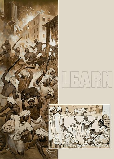 Mahatma Gandhi. Gandhi sought peace between the warring Hindus and Muslims (left) by entreaty and example (below). Original artwork for illustration on p41 of Look and Learn issue no 564 (4 November 1972).