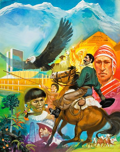 The Story of South America. Original artwork for cover of Look and Learn issue no 433 (2 May 1970).