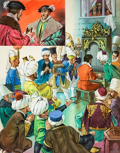 Diplomacy. The Turkish Sultan and his court gasped with wonder as Thomas Dallam's wonderful instrument produced first the chime of bells, then a fanfare of trumpets, and finally the sound of singing birds. Original artwork for illustration on p14 of Look and Learn issue no 489 (29 May 1971).