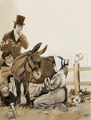 """Constable and a Remedy for Whooping Cough. In 1827 the painter, Constable, was concerned about the health of his young son, who was suffering from whooping cough. One quack recommended as a cure that the child be """"passed three times over and three times under a donkey."""" Original artwork for illustration on p16 of Look and Learn issue no 578 (10 February 1973)."""