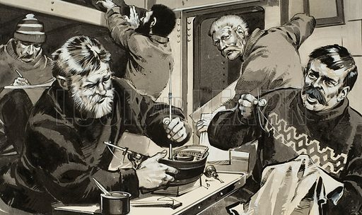 """Keeping Yourself Busy.  Ways of passing the time when your ship is hemmed in by ice and your are trapped by the winter!  These Norwegians had three winters locked in ice before they returned home in the """"Fram"""" to the harbour at Stavanger.  Original artwork for illustration on p29 of Look and learn issue no 453 (19 September 1970).  Lent for scanning by The Gallery of Illustration."""