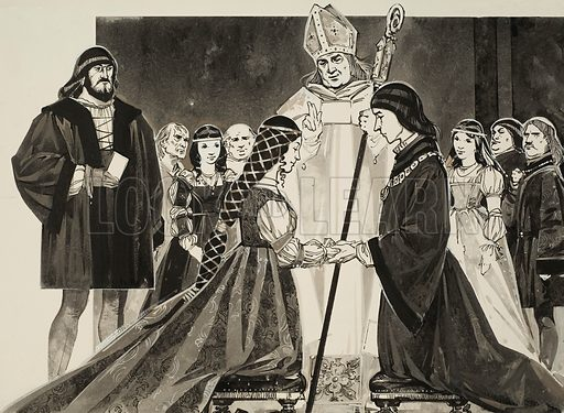 Marriage of Lucrezia Borgia to Duke Alfonso.  Original artwork for illustration on p23 of Look and Learn issue no 601 (21 July 1973). Lent for scanning by The Gallery of Ilustration.