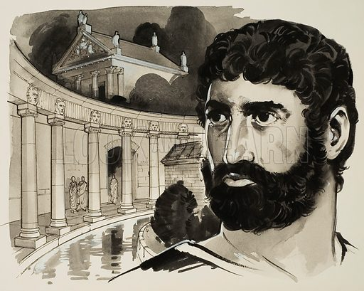 Hadrian's Villa at Tivoli.  At Tivoli, Hadrian built a great villa which was almost as big as a town, with fountains, baths, galleries, theatres, libraries, temples and rotundas.  Original artwork for illustration on p3 of Look and Learn issue no 625 (5 January 1974).  Lent for scanning by The Gallery of Illustration.