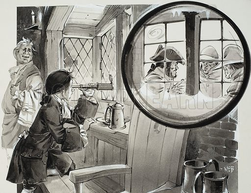 Through the Telescope.  Original artwork for story illustration on p25 of Look and Learn issue no 351 (5 October 1968). Lent for scanning by The Gallery of Illustration.