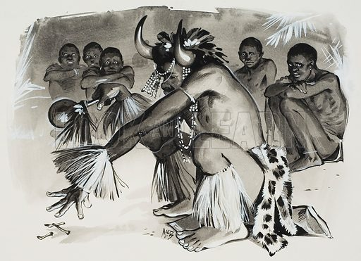 Witch Doctor.  Original artwork for illustration in Look and Learn (issue yet to be identified).  Lent for scanning by The Gallery of Illustration.