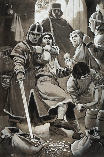 Forgers. Forged coins were undermining the value of the official currency. the Biship of Salisbury sent his men to scour the country for forgers. Many were caught red-handed and brought to justice. Original artwork for illustration on p12 of Look and Learn issue no 1005 (13 June 1981).