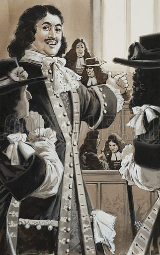 Peter The Great in Court.  When Peter the Great, the Russian emperor, visited a law court in England, he was astonished to find so many lawyers in it.  Original artwork for illustration on p12 of Look and Learn issue no 1007 (27 June 1981).  Lent for scanning by The Gallery of Illustration.