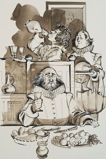 Servants.  Some servants were far from servile.  Cheeky serving boys would drink the gravy from a pie before taking it into the dining room, or openly take a swig from the wine bottle behind their master's back - often to the amusement of guests who had a view of these antics.  Original artwork for illustration on p41 of Look and Learn issue no 610 (22 September 1973).  Lent for scanning by The Gallery of Illustration.