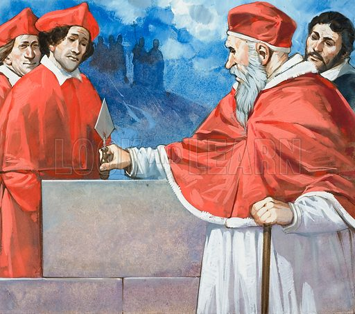 Pope Julius II laying the cornerstone of St Peter's Basilica, Rome, Italy, 1506. Original artwork for illustration on p24 of Look and Learn issue no 601 (21 July 1973).