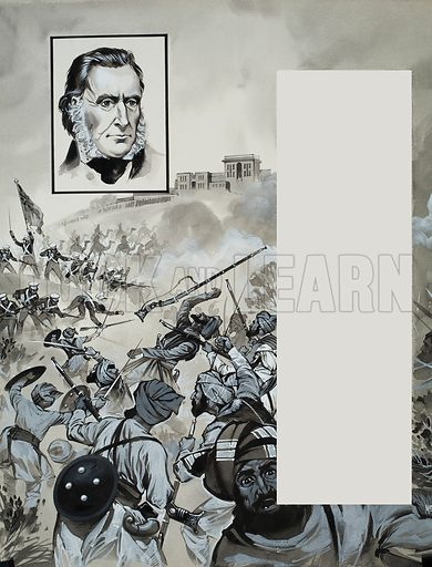 Battle Scene. Original artwork for Look and Learn (issue yet to be identified).