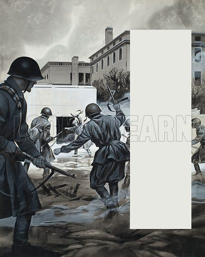 Second World War Scene.  Original artwork for illustration in Look and Learn (issue yet to be identified).  Lent for scanning by The Gallery of Illustration.