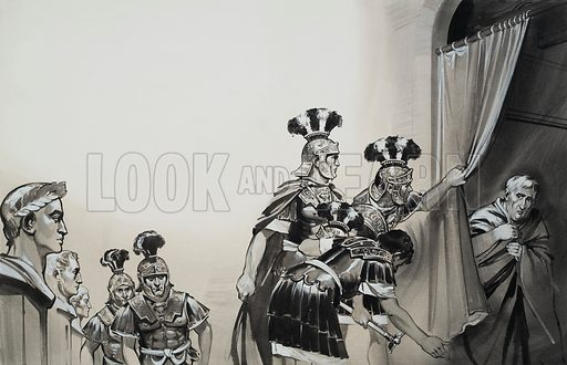 """Claudius.  """"Hail Emperor!"""" the soldiers cried reverently, drawing back the curtain behind which Claudius was hiding.  Original artwork for illustration on pp4-5 of Look and Learn issue no 623 (22 December 1973).  Lent for scanning by The Gallery of Illustration."""