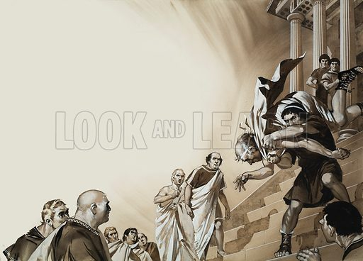 Servius. When King Servius arrived at the Senate, his ambitious son in law, Aruna, leapt from the throne and threw the king down the steps. Original artwork for illustration on pp4–5 of Look and Learn issue no 615 (27 October 1973).